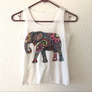 White tank with elephant paisley design girls szL
